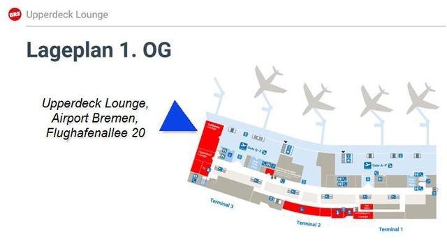 Airport BRE Lageplan Upperdeck Lounge